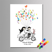 1Pc Wedding Fingerprint Tree Painting DIY Bike Couple Wedding Guest Book Baby Shower Party Decorations (With 2Pcs Inkpad)