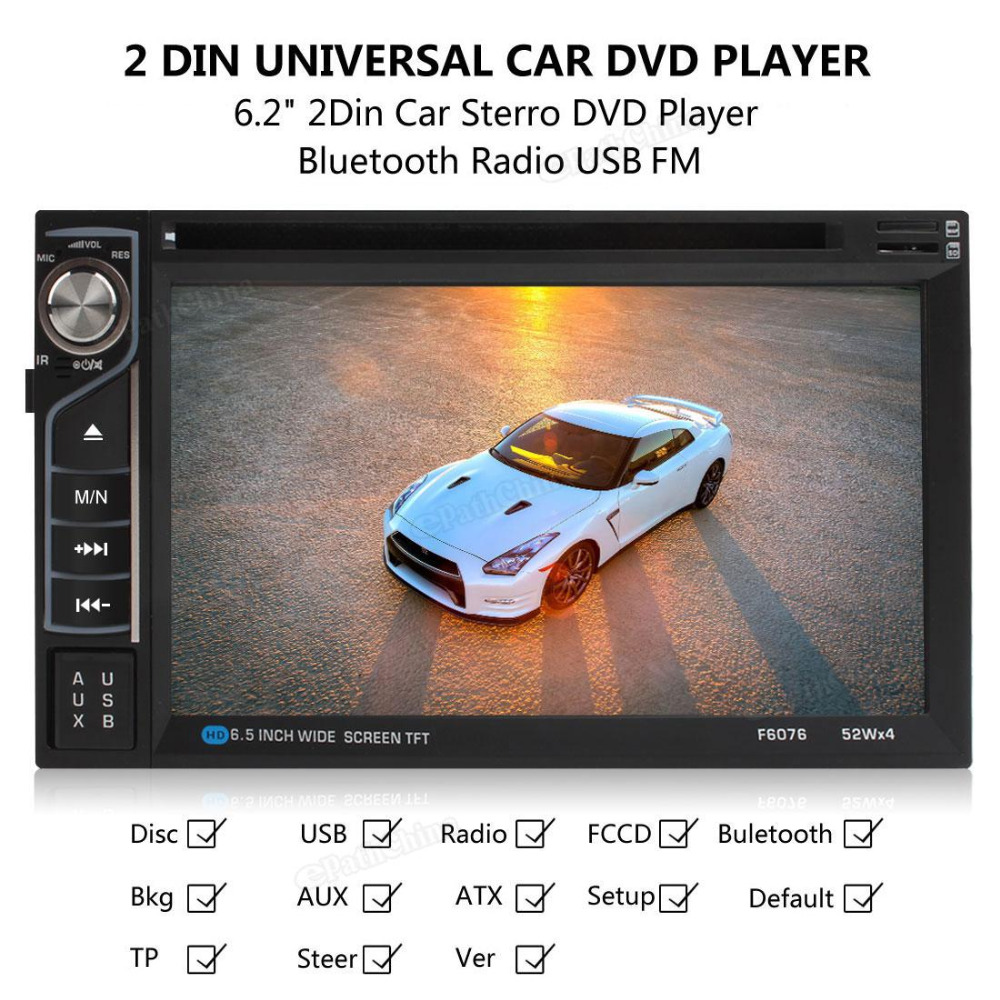 6.2 inch Touch Screen 2-DIN Car In Dash FM Radio Receiver Bluetooth DVD CD Player with Wireless Remote Control rlc 084 original oem bare bulb lamp with housing for viewsonic pjd6544w pjd6345 pjd5483s projector