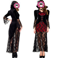 Abbille Women Halloween Queen Vampire Costume Ladies Black Robe Dress Short Lace Fancy Cosplay Cloak Outfit