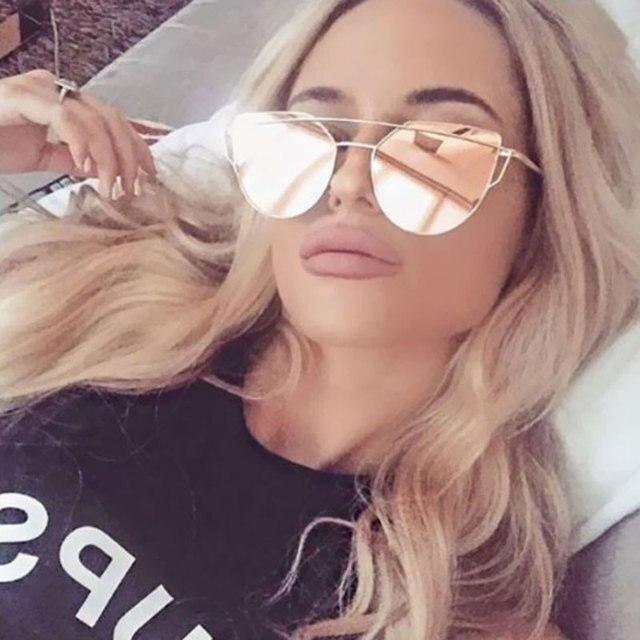 1a604b6770d13e de UV400 Or lunettes femmes soleil designer Marque Cat Rose Eye F0WqFE