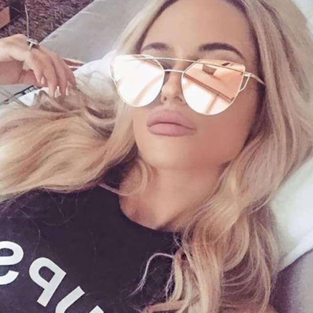 19f2861544a68 Olho de gato óculos de sol das mulheres Marca designer UV400 Espelho Ouro  Rosa Senhora barato