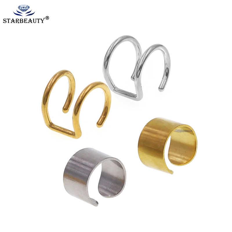 2 piezas 16G de acero inoxidable para oreja Clip en Helix cartílago anillo mujeres hombres falso sin Piercing joyería del cuerpo falso Helix Piercing