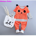 Malayu Baby 2016 autumn baby girl's clothes (long-sleeved striped shirt Panda + shirt + Pants) 3pcs Baby Clothing Sets 1-4 years