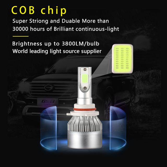 2x H7 LED H11 H4 Hi/Lo H1 H3 H8 HB1 HB3 HB4 HB5 PS24W HIR2 H13 H16 H27 9005 Car Headlight Bulbs 3000K 4300K 6000K 8000K COB C6