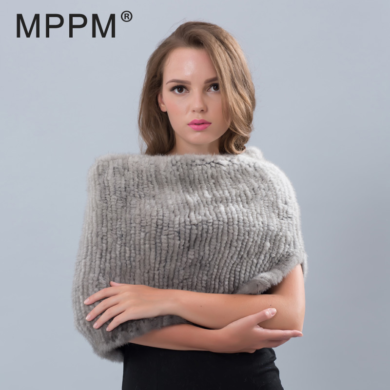 MPPM Small Gap Design Mink Fur Wrap Scarf for Women Knitted Mink Fur Shawl Solid Color