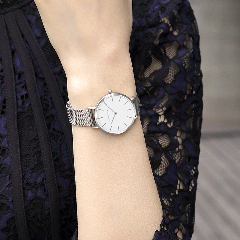Japan Quartz Movement High Quality 36mm hannah Martin Women Stainless Steel Mesh Rose Gold Waterproof Ladies Watch Dropshipping 4