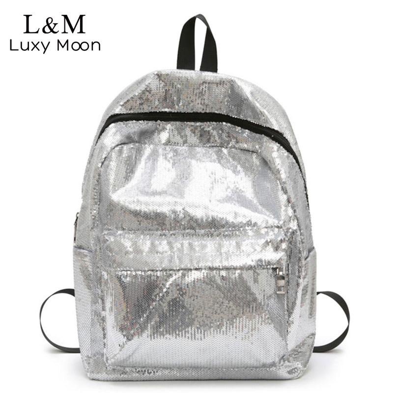 Sequins Backpacks Silver School-Bags Teenage-Girls Big Women Fashion for XA155H Wholesale