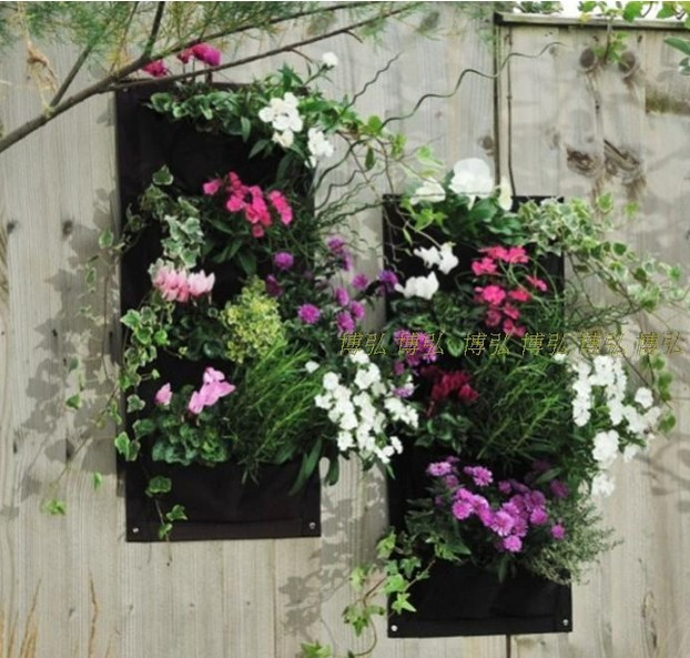 Vertical Garden Planter Wall Mounted Polyester Hanging Flower Pots Living  Indoor Wall Planter 4 Pockets
