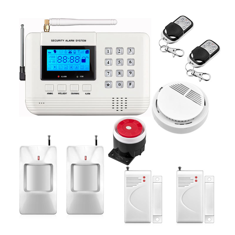 Metal Remote Control Voice Prompt Wireless door sensor Home Security GSM PSTN Alarm systems LCD Display Smoke Detector wireless smoke fire detector for wireless for touch keypad panel wifi gsm home security burglar voice alarm system