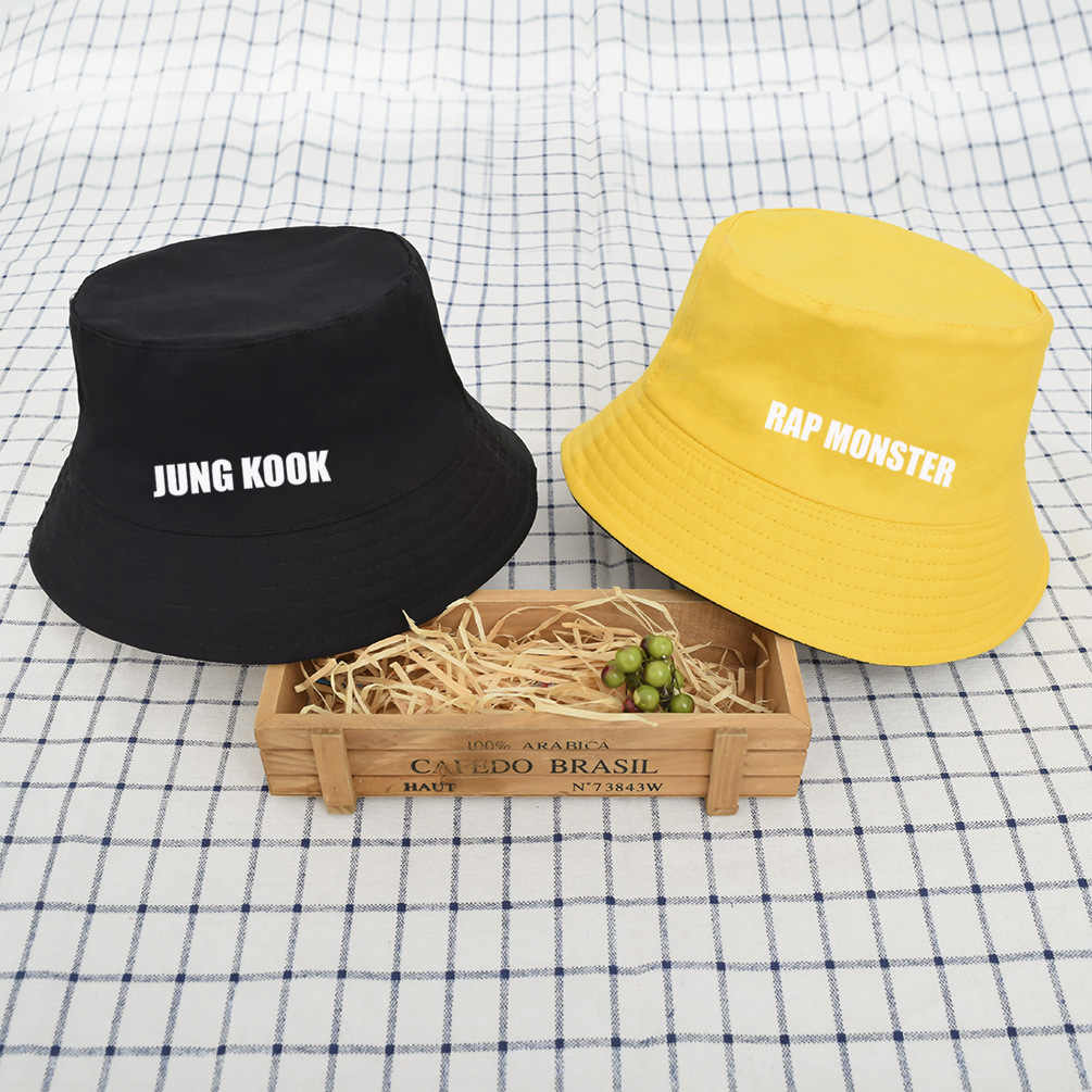 86b0f63a58c4d2 kpop bts Bangtan Boys Surrounding Same paragraph aid hat Double-sided  fisherman hat Male and