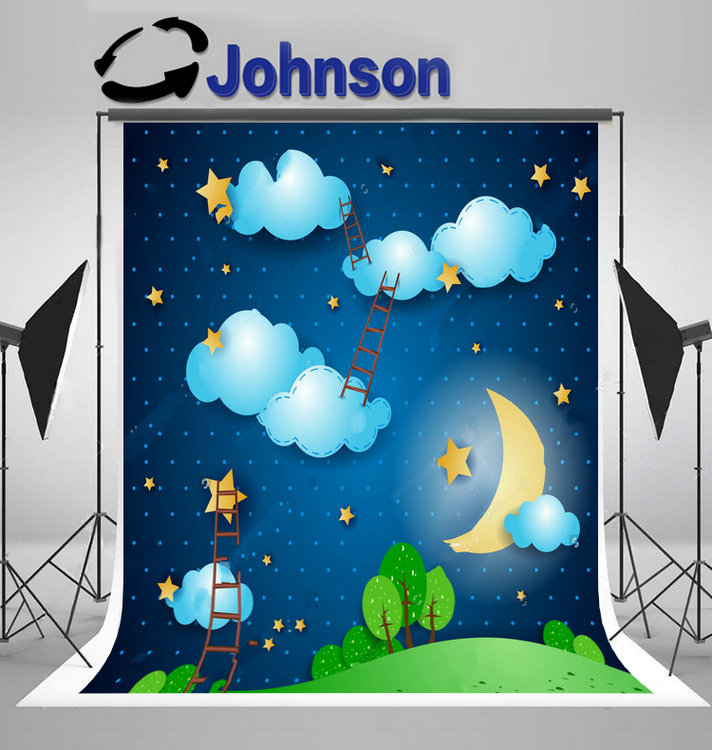 night sky blue clouds gold star half moon tree grass ladder background Vinyl cloth Computer print children kids backdrops