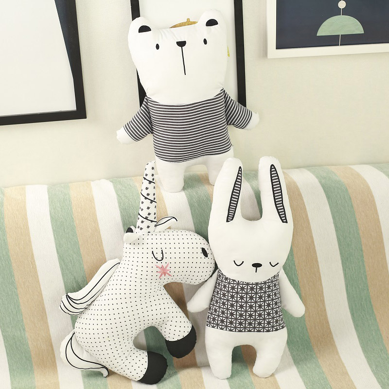 Lucky Boy Sunday Unicorn Rabbit Bear Cotton Pillow Cushion Soft Appease Doll  Animals Plush Toy Baby Room Decoration Kids Gift