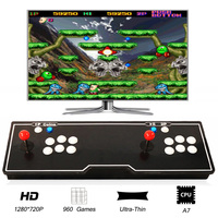 960 Games Jamma Arcade Console Wooden Board Metal Case Usb Joystick Video 1 Player 2 Players