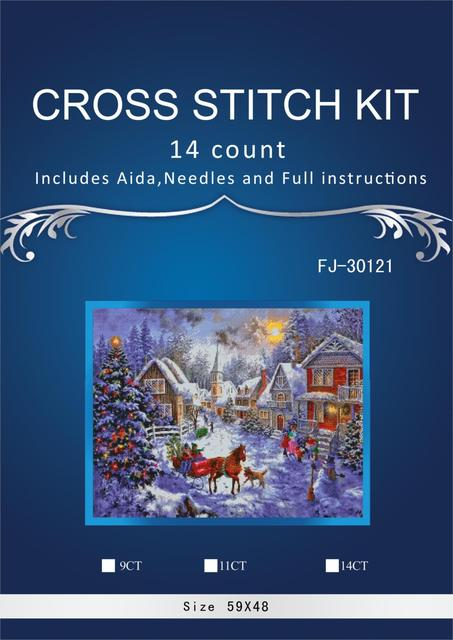 horse and house on snow Stitch DIY 14CT similar DMC Cross Stitch,Sets Embroidery Kits Counted Cross-Stitching FJ-3012