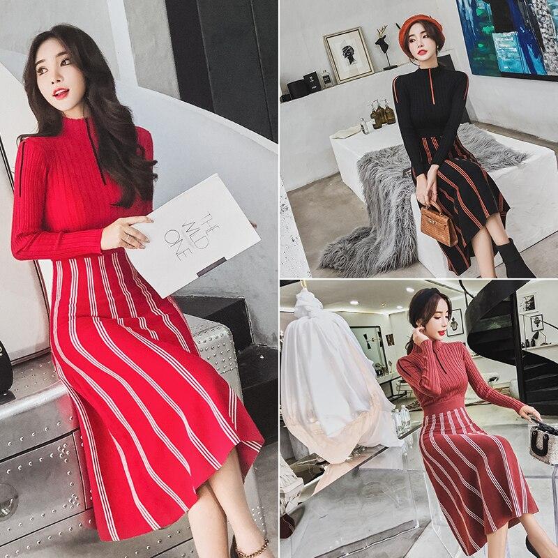 Chandail rouge Noir Luxe De Automne Mince Coréenne Bureau Roulé Col Hiver Tricoté Robe Robes Long Femmes Finewords multi Tricot Dame Élégante AHPUq