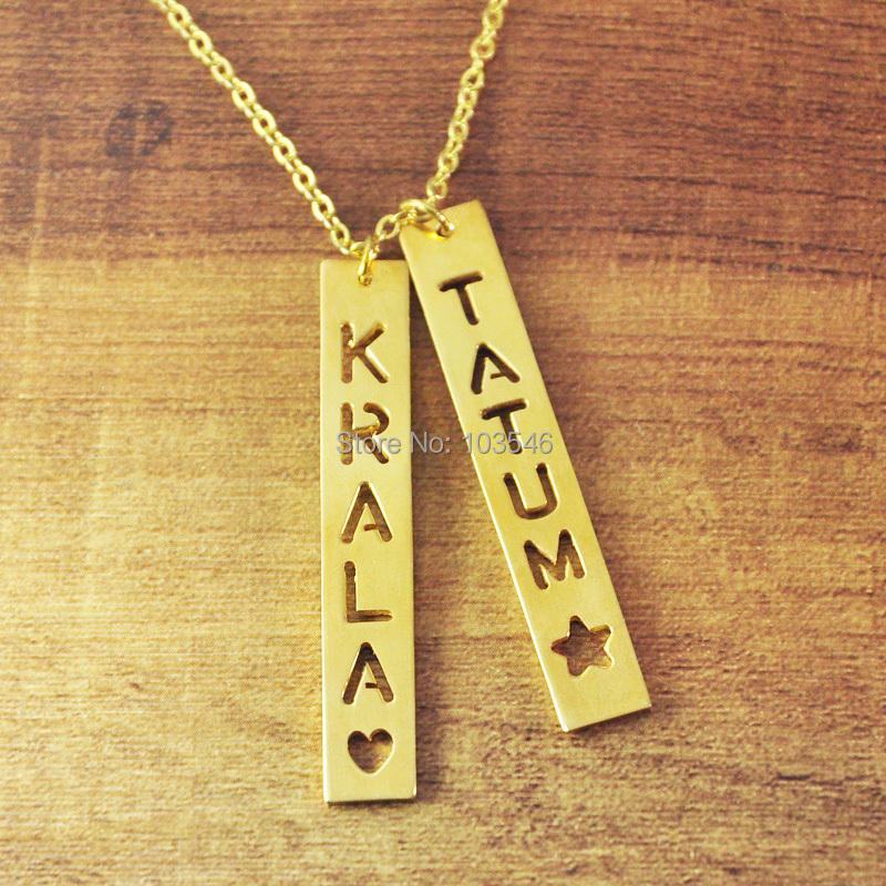 Custom Gold Color Bar Necklace Personalized Engraved Vertical Bar