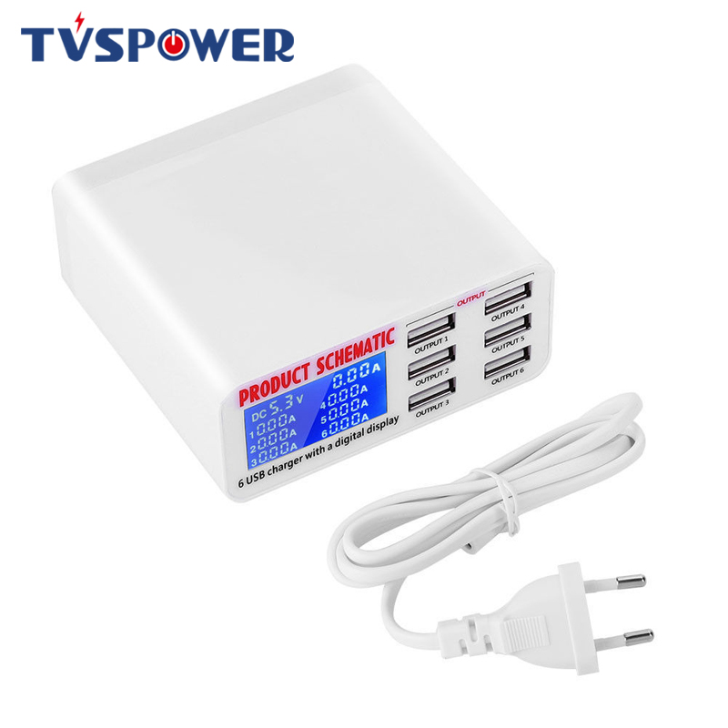 6 Ports USB Charger Travel Charger LCD Digital Display Smart Charging Station Multi Port USB Charging 5V 2A EU/US Plug-in Mobile Phone Chargers from Cellphones & Telecommunications on AliExpress - 11.11_Double 11_Singles' Day 1