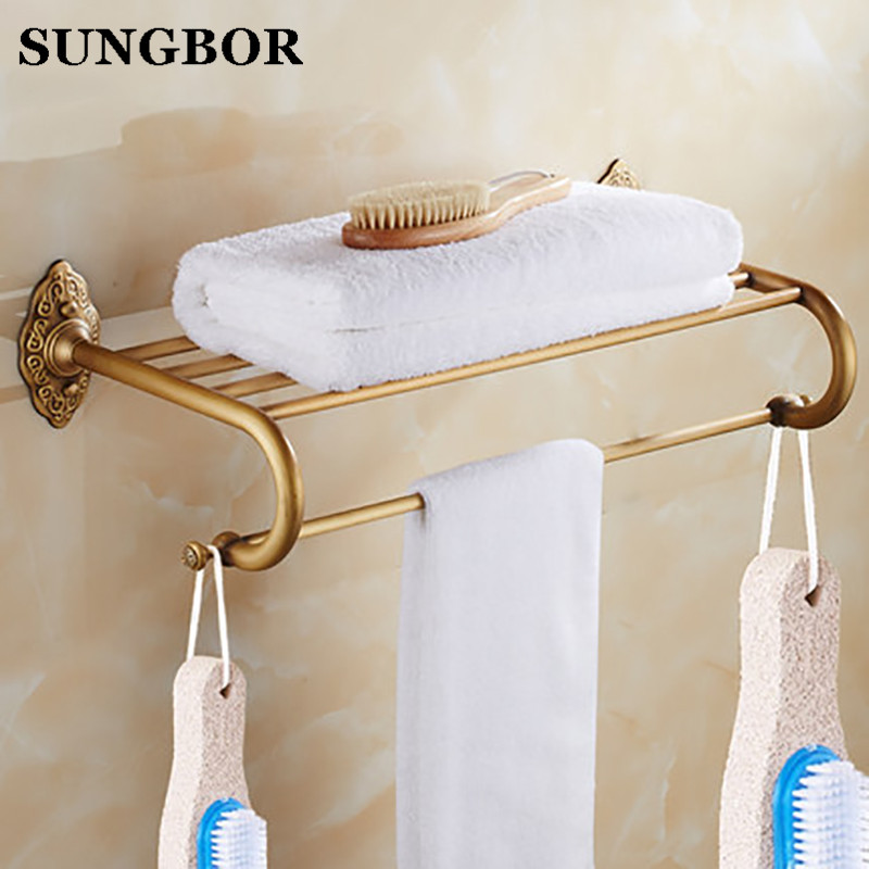 New arrival Antique Brass towel rack bathroom towel shelf bathroom accessories luxury bath towel holder toilet free shipping whole brass blackend antique ceramic bath towel rack bathroom towel shelf bathroom towel holder antique black double towel shelf