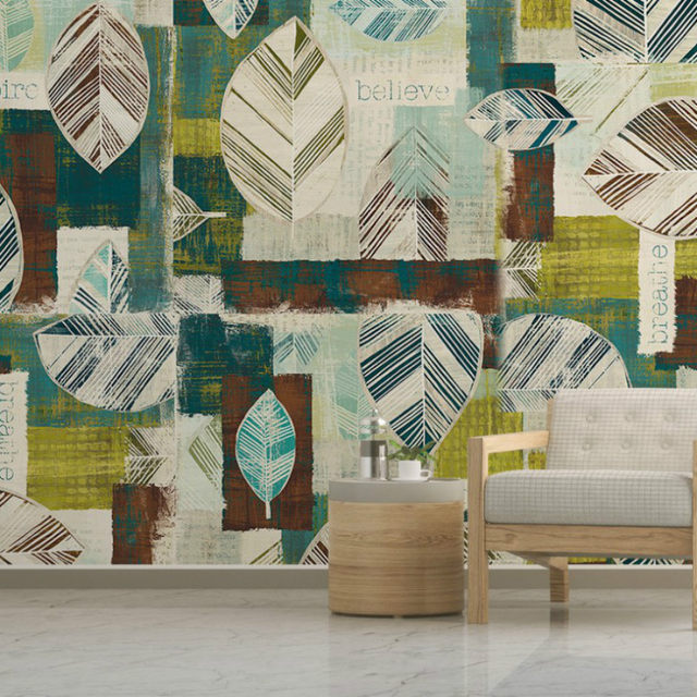 Online Shop Free Shipping Living Room Wallpaper Leaves Series