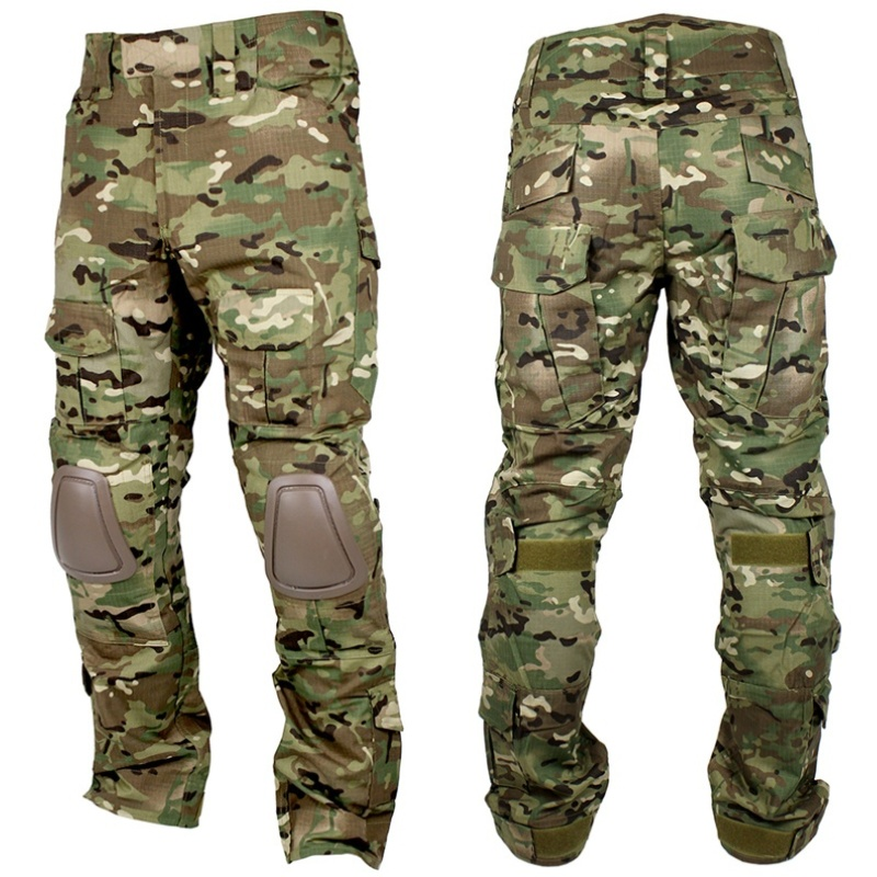 Multicam Camouflage Men Hunting Pants Tactical BDU Pants Camo Knee Pads Airsoft Sniper Paintball Military Army