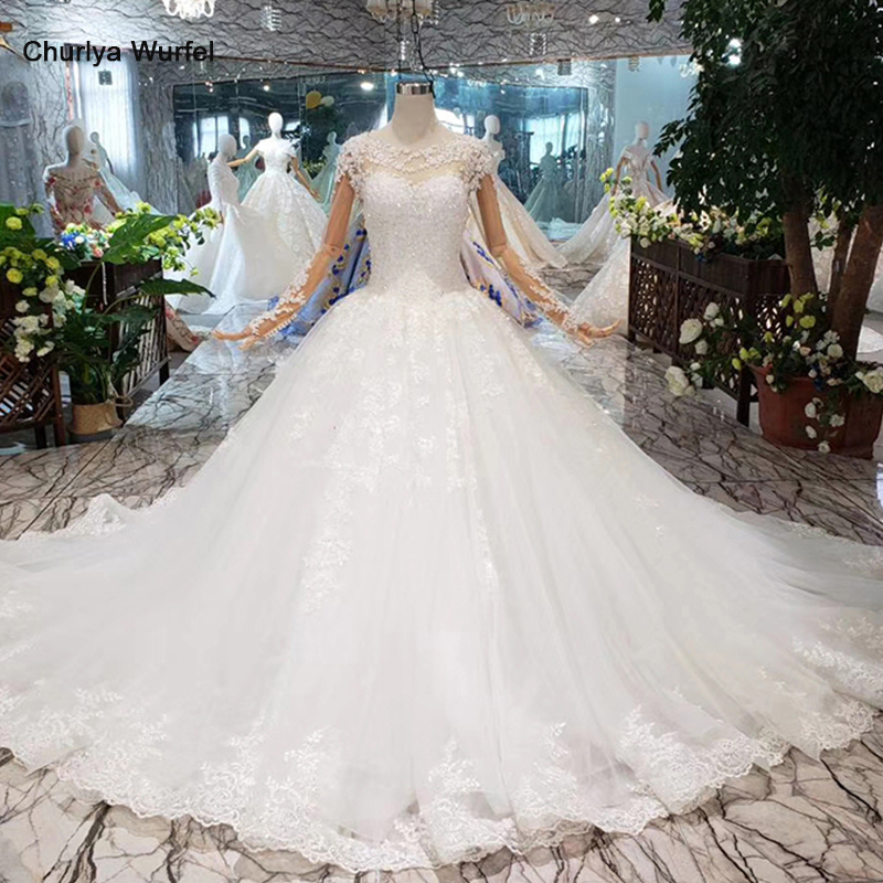 HTL280 Illusion Lace Wedding Dress With Floral Print Full Sleeves Appliques Handmade Bridal Dress Wedding Gown Western Style