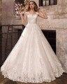 Dreagel Новый Романтический Милая Аппликации Принцесса A-Line Свадебные Платья 2017 Роскошные Бисером Пояса Свадебное Платье Халат де Mariage