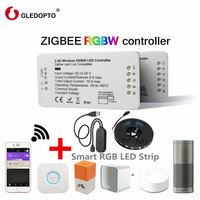 GLEDOPTO ZIGBEE RGBW LED Strip Controller 12 24VDC RGBW Remote Dimmer Controller Compatible With Amazon Echo Plus/Osram Lightify