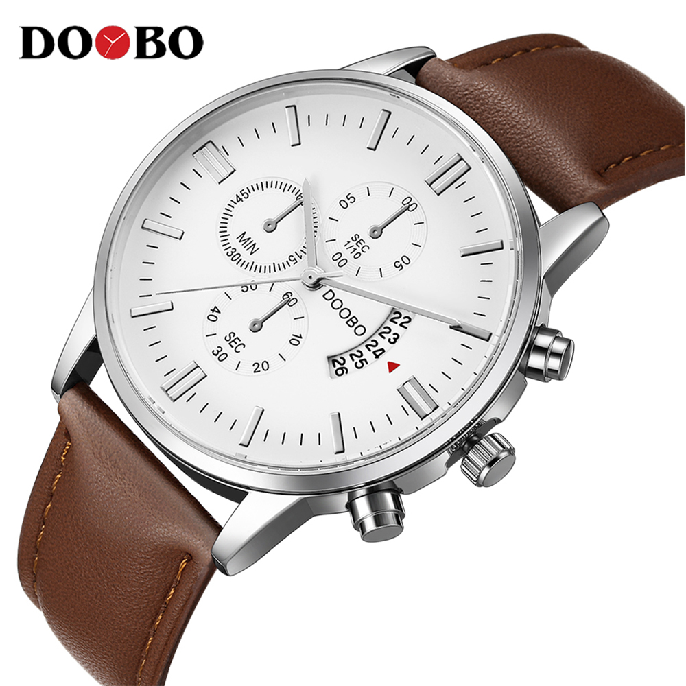 Watch Men Leather Waterproof Clock Mens Watches Top Brand Luxury Fashion Casual Sport Quartz Wristwatch Relogio Masculino DOOBO yobang security free ship 7 video doorbell camera video intercom system rainproof video door camera home security tft monitor
