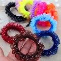 10 unids/lote /encaje elástico 2016 nuevos 12 colores moda caramelo colores niños niñas Rubberbands lazo goma accesorios para el cabello