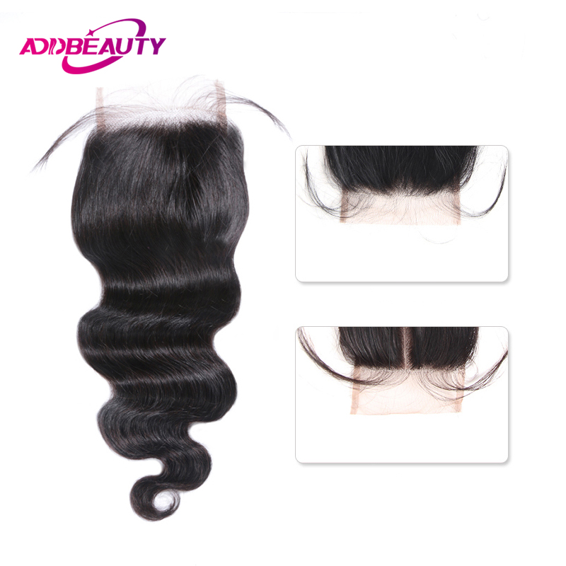 Swiss HD Transparent 4x4 Lace Closure Body Wave Brazilian Remy Human Baby Hair Free Middle Part Natural Color 130% Density