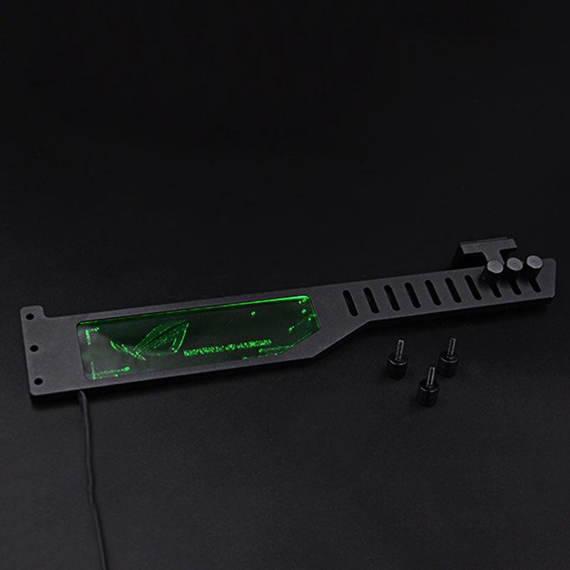 все цены на 2018 Graphics Card L:300mm Stand RGB To AURA 3 pin+5V Color LED Bracket Anti-bending Jack Aluminum alloy Metal Fluid DIY Cooling онлайн
