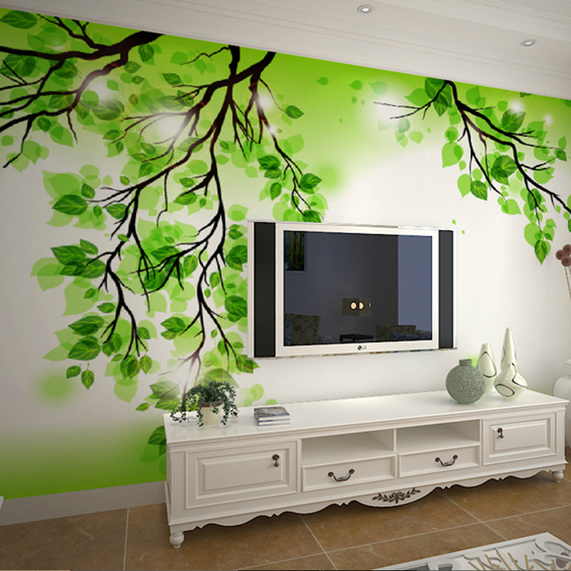 living bedroom tree simple murals sofa wallpapers backdrop stereoscopic