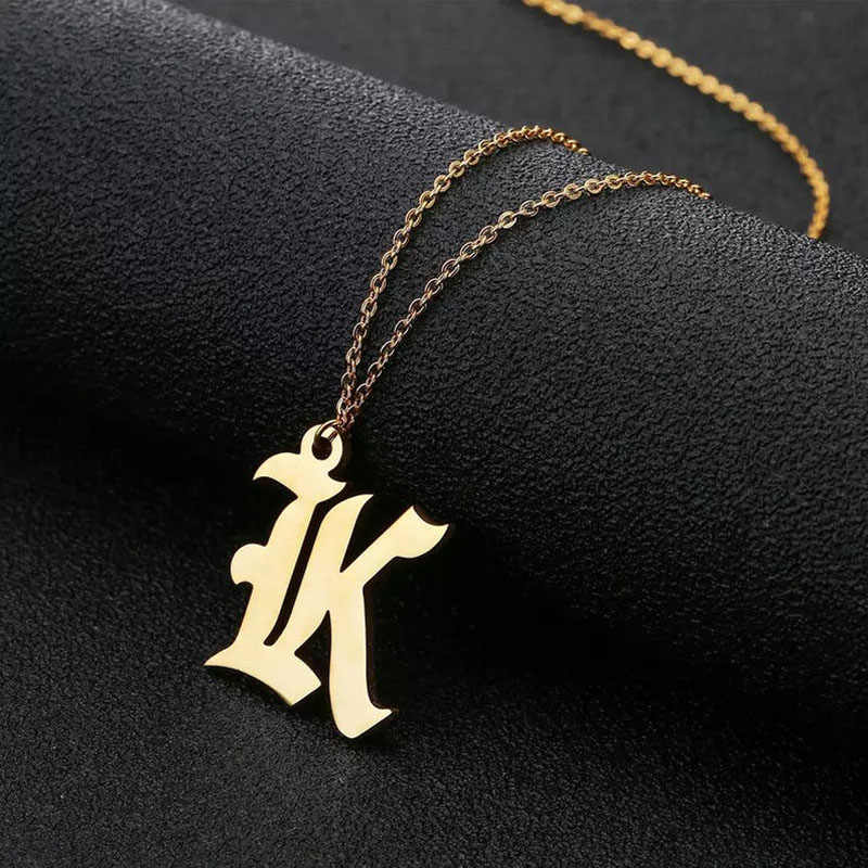 Minimalism Old English A-Z Capital Initial Necklaces Pendants Letter Jewelry Best Friend Gifts Rose Gold Friendship Necklace bff