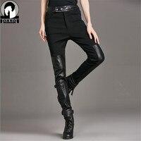 Super Cool 2017 Winter Black Warm Women Leather Pants Capris PU Botton Elastic High Waist Stretch