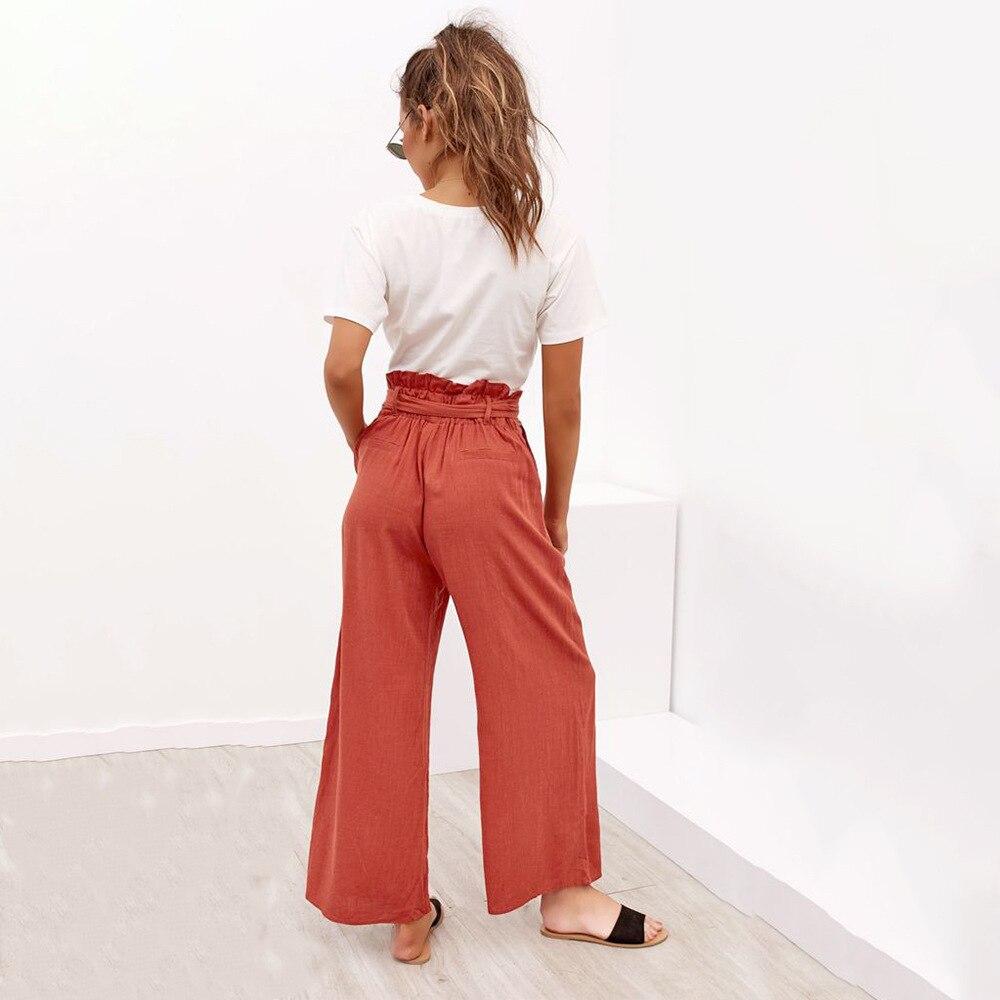 Casual Cotton Linen High Waist Wide Leg Pants 22