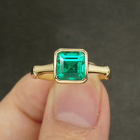 AAA 3ct Solid 14K Yellow Gold Colombia Moissanite Green Primcess Cut Emerald Ring Engagement Ring Jewelry For Women