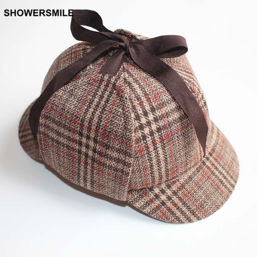 SHOWERSMILE Brand Sherlock Holmes Hat Baseball Cap Houndstooth Deerstalker Plaid Autumn Winter Unisex Men Women Cosplay Costume showersmile brand sherlock holmes detective hat unisex cosplay accessories men women child two brims baseball cap deerstalker