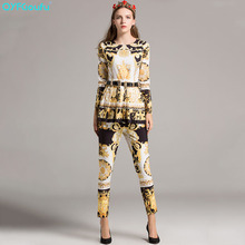 QYFCIOUFU High Quality Fashion Women 2 Piece Pants Sets Pleated Printed Long Sleeves Tops And Blouses + Runway Palazzo Pants