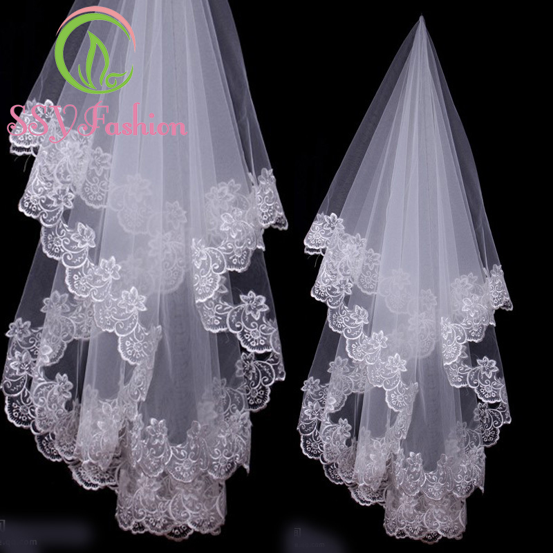 In Stock SSYFashion High Quality Veils 1.5 Meters White Ivory Lace Embroidery Wedding Veils 1 Layer Married Wedding Accessories