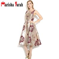 Womens Summer Autumn Retro Vintage Dresses O Neck Sleeveless Floral Jacquard Print Sexy Vest Casual Party
