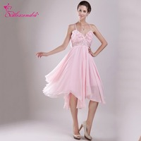 Alexzendra Pink Beach Chiffon Prom Dresses with Straps V Neck Simple Short Party Dress Graduation Gown for Girls