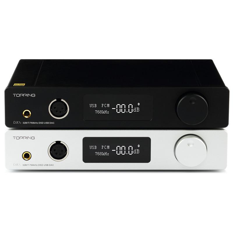 TOPPING DX7S 2*ES9038Q2M 32Bit/768K DSD512 Full balanced DAC & Headphone amplifier XMOS(XU208)+OPA1612 USB/OPT/AES/COAX input