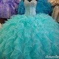 2016 Debutante vestidos turquesa azul Quinceanera Dresses Sweetheart vestido de bola elegante cristales Girls 15 años vestido para 16 dulce