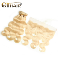 QT Non remy Human Hair 3/4 Bundles with Frontal 613 Peruvian Body Wave Russian Blonde Hair Lace Frontal Closure with Bundles
