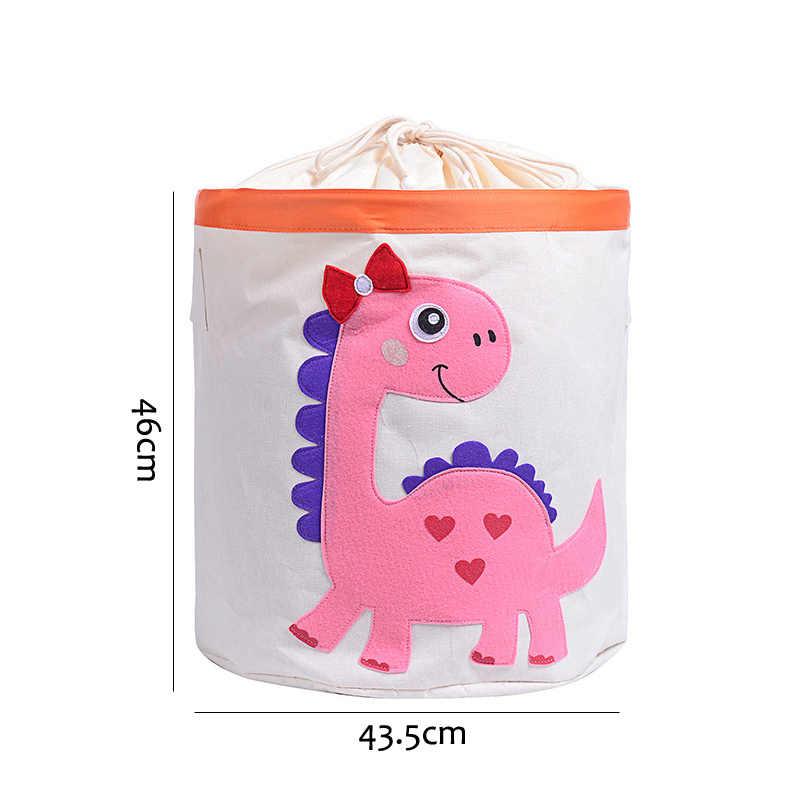 Organizador da Cesta De Lavanderia para Roupas Sujas de Algodão Animais Dos Desenhos Animados do dinossauro Brinquedos Barril Cesto De Armazenamento Organizador Roupa Dos Miúdos