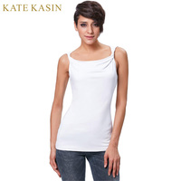 Kate Kasin Comfortable Cotton Black White Crop Tops Twist Straps Summer Tunic Tops Female Casual O