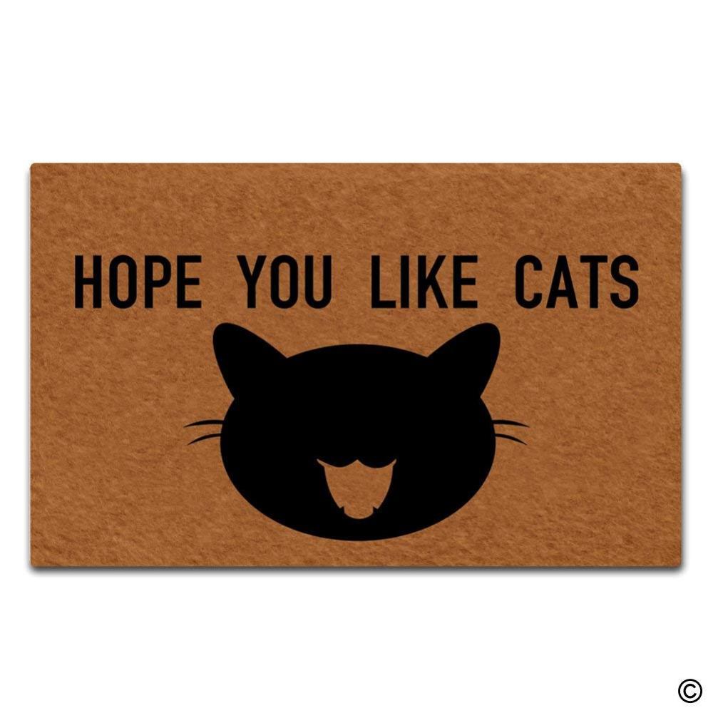 Hope you like cats Doormat Funny Door Mat Entrance Floor Mats Indoor Doormat 18x30 Entry Way Outdoor Door Mat with cat face