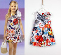 New Baby dress Girls flowers fold Vest dress princess A word Dresses Wholesale