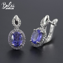 Bolai tanzanite clip earrings 925 sterling silver created gemstone jewelry ear studs for women wedding earring high quality