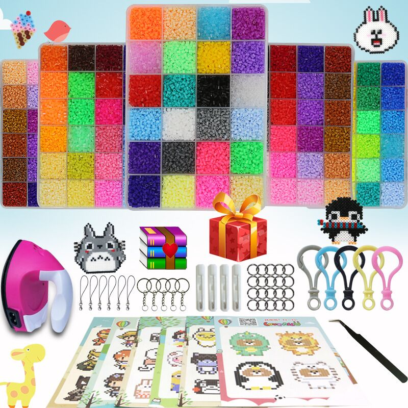 36000pcs 24/72 Colors 5mm/2.6mm EVA Hama Perler Beads Toy Kids Fun Craft DIY Handmaking Fuse Bead Multicolor Gifts With Iron